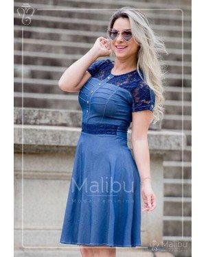 22b5cc1501f Alessandra | Moda Evangelica · Alessandra. Vestido godê chambray ...