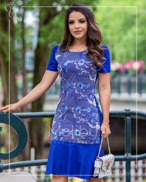 Vestido midi azul royal com tule rendado | Moda Evangelica