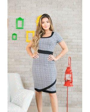 15b495f6a Vestido tubinho xadrez c/ faixa preta | Moda Evangelica