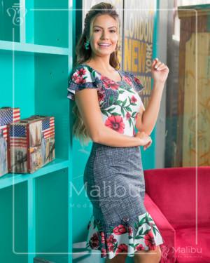 Vestido midi com estampa floral em suplex | Moda Evangelica