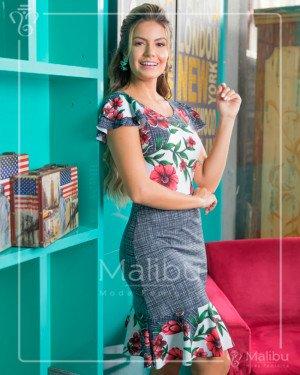 Vestido midi estampa floral  | Malibu Moda Evangélica