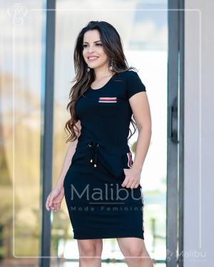 Vestido preto em malha com listras | Moda Evangelica