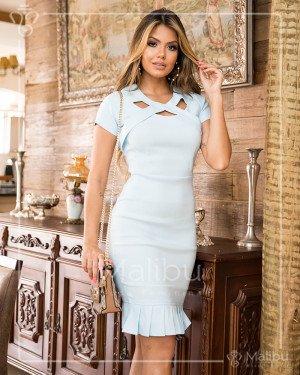 Vestido sino plissado azul bebe | Moda Evangelica
