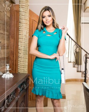 Vestido sino plissado verde | Malibu Moda Evangélica