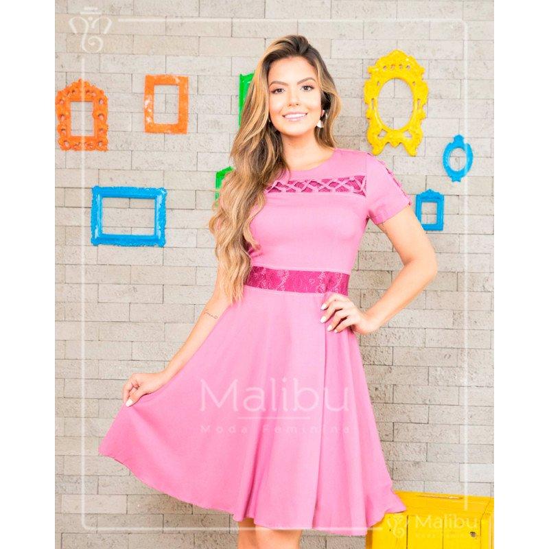 99dec81dd5c Yumi - Vestido godê rosa em chambray | Moda Evangelica