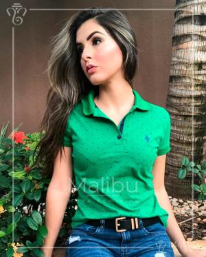 Blusa Polo Verde com Poá Azul Marinho | Moda Evangelica