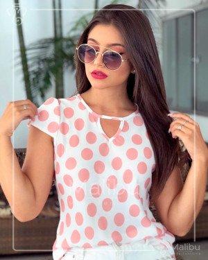Blusinha Crepe Bouble Bolas Rosa | Malibu Moda Evangélica