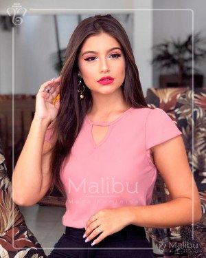 Blusinha Crepe Bouble Rosa | Malibu Moda Evangélica