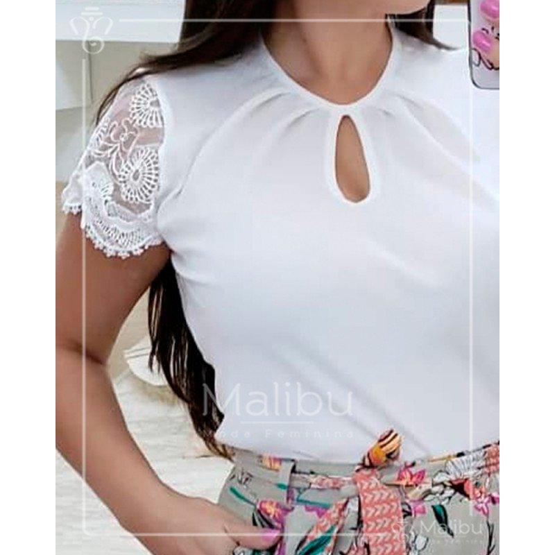 2d85ef57b Sofia - Blusinha Crepe Off White   Moda Evangelica