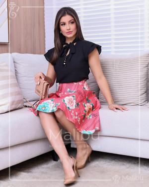 Conjunto saia Godê Rose + blusinha preta | Moda Evangelica