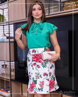 Conjunto saia evasê off + blusinha verde | Moda Evangelica