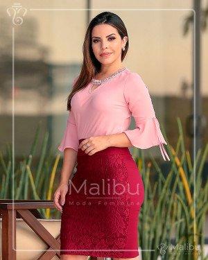 Conjunto saia lápis e blusa crepe | Malibu Moda Evangélica