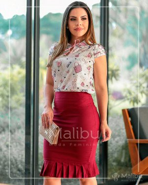 Conjunto saia marsala e blusinha | Malibu Moda Evangélica