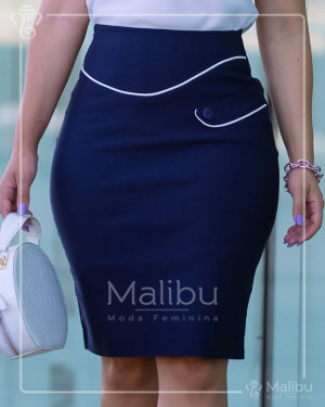 Saia Secretária Azul Marinho C/ Viés Off | Moda Evangelica