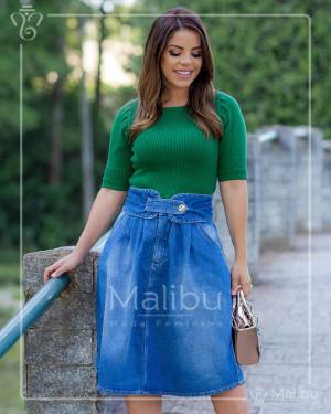 Saia Jeans Clochard Midi Evasê | Moda Evangelica