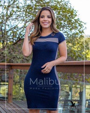 Vestido Tubinho Azul Marinho Detalhe Listrado | Moda Evangelica