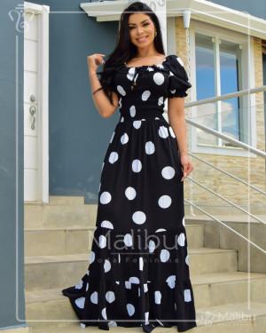 Vestido Longo Ciganinha Preto Poá Off | Moda Evangelica