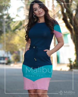 Vestido Marinho em Malha Viscolycra Tricolor   Moda Evangelica