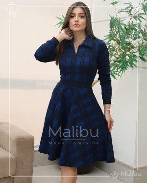 Vestido Godê Xadrez Azul e Preto | Moda Evangelica