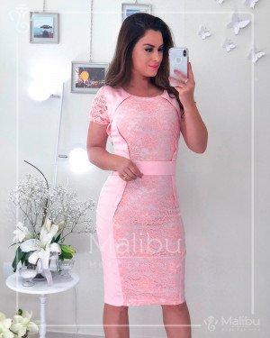 Vestido Tubinho Sarja Rose com renda | Moda Evangelica