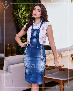 Salopete Jeans Sino com Botões | Moda Evangelica