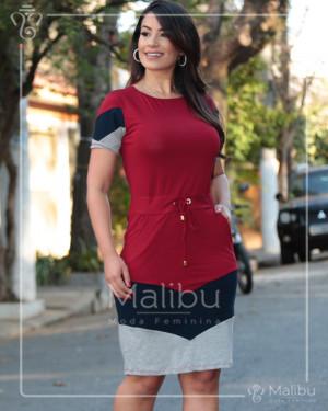 Vestido Tubinho em Malha Viscolycra Tricolor   Moda Evangelica