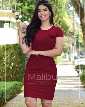Vestido Viscolycra Marsala com Faixa Lateral | Moda Evangelica
