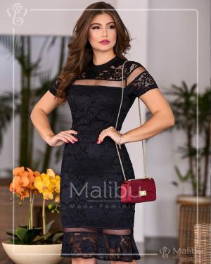 Vestido sino em renda preto detalhes tule | Moda Evangelica