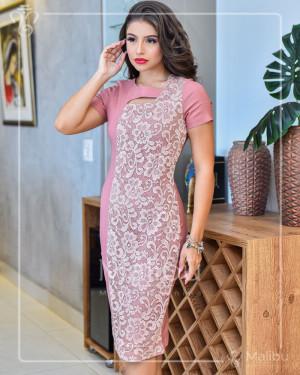 Vestido Tubinho Rose Midi Renda e Bengaline | Moda Evangelica