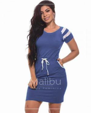 Vestido Tubinho com Bolso Viscolycra Azul | Moda Evangelica