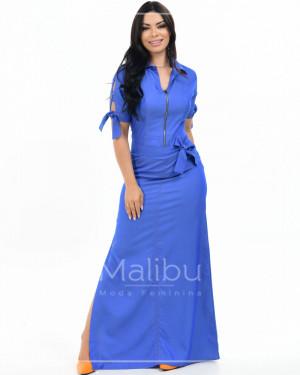 Vestido Longo Chambret  Azul Royal c/ Fenda | Moda Evangelica