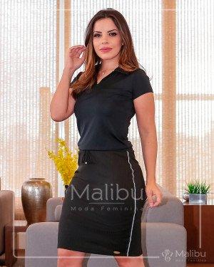 Vestido em suplex preto | Malibu Moda Evangélica