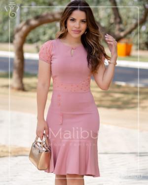 Vestido Midi Rose Com Saia Enviesada | Moda Evangelica