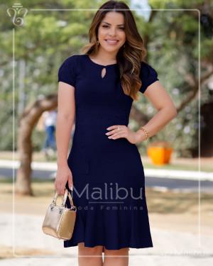 Vestido Midi Marinho Com Saia Enviesada | Moda Evangelica