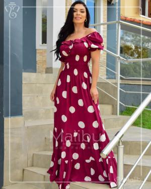 Vestido Longo Ciganinha Bordo Poá Off | Moda Evangelica