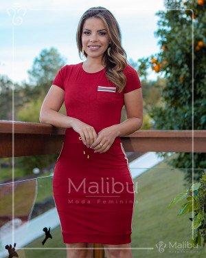 Vestido Tubinho Vermelho em Malha com listras | Moda Evangelica