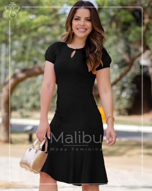 Vestido Midi Preto Com Saia Enviesada | Moda Evangelica