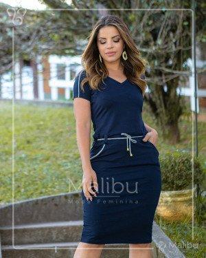 Vestido Tubinho Azul Marinho em Malha | Moda Evangelica