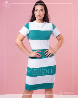 Vestido Tubinho  Midi Bandagem Off e Verde | Moda Evangelica
