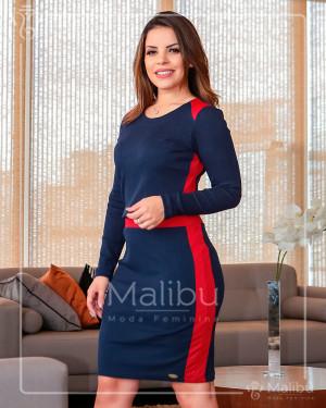 Vestido Marinho e Vermelho Canelado | Moda Evangelica