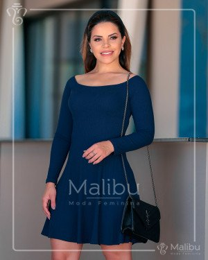 Vestido Godê Azul Marinho | Malibu Moda Evangélica