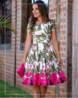 Vestido midi estampado  | Malibu Moda Evangélica